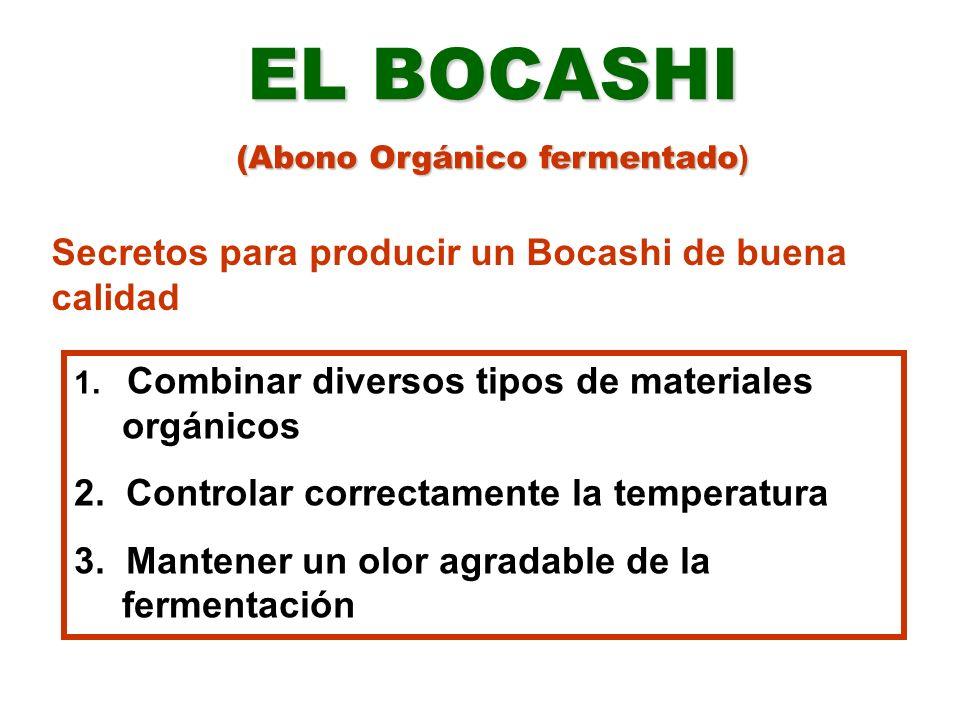 EL BOCASHI (Abono Orgánico fermentado ) 1. Combinar diversos tipos de materiales orgánicos 2. Controlar correctamente la temperatura 3. Mantener un ol