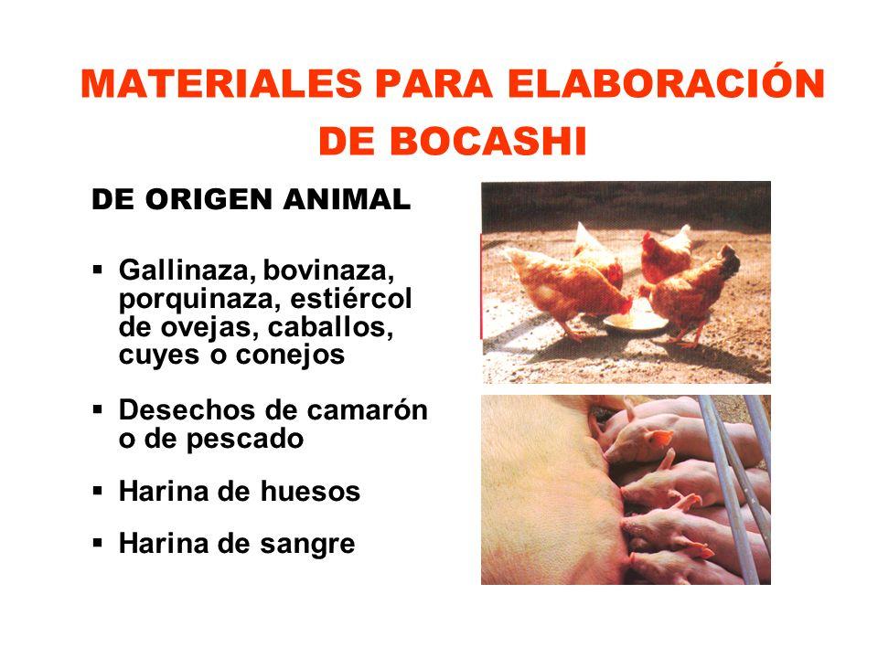 MATERIALES PARA ELABORACIÓN DE BOCASHI DE ORIGEN ANIMAL Gallinaza, bovinaza, porquinaza, estiércol de ovejas, caballos, cuyes o conejos Desechos de ca
