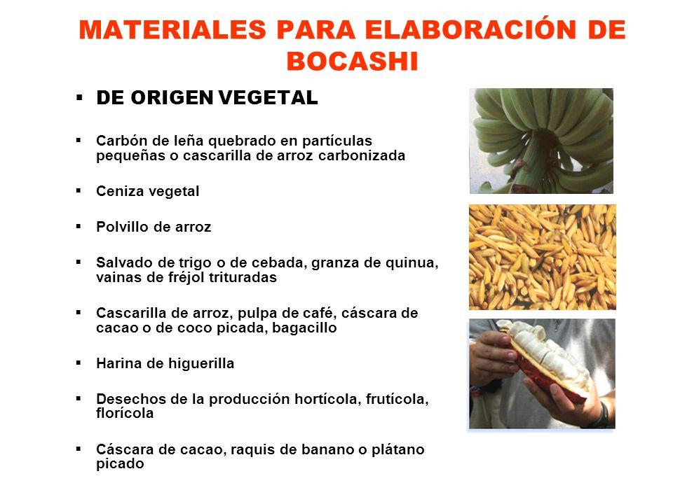 MATERIALES PARA ELABORACIÓN DE BOCASHI DE ORIGEN MINERAL Harina de Rocas (Rocas calcáreas, fosfóricas, potásicas, azufradas, zeolita) Melaza, miel de caña o miel de panela Tierra de bosque o tierra negra Agua limpia Agentes microbiológicos eficientes autóctonos EMA / levadura para pan (granulada o en barra) Herramientas: Palas, baldes plásticos, termómetro, manguera para agua, mascarilla para protección contra el polvo, guantes y botas.