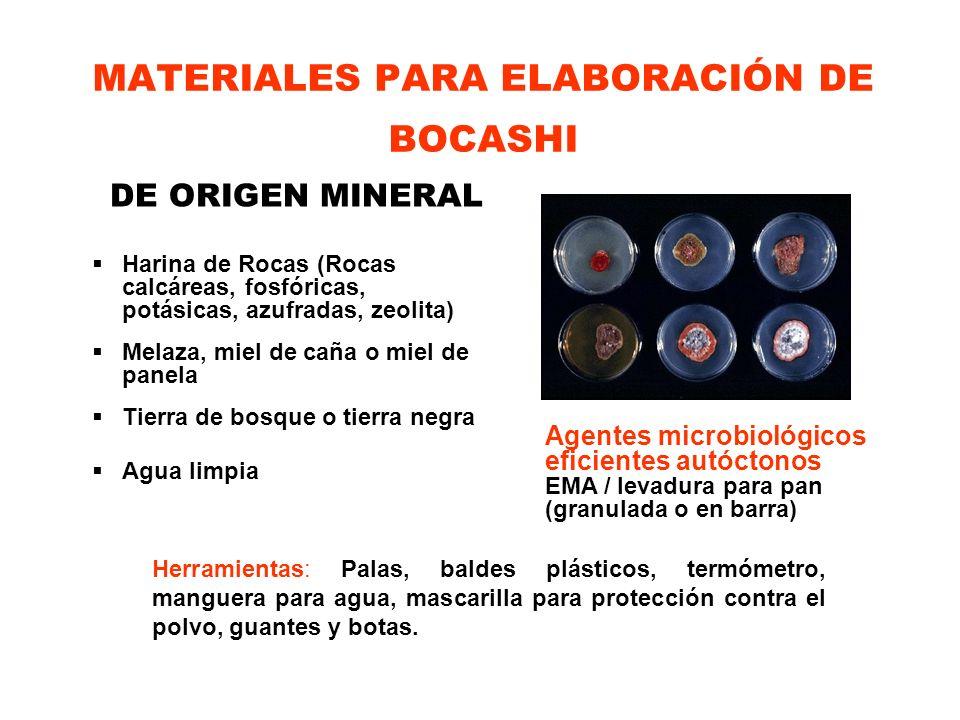 MATERIALES PARA ELABORACIÓN DE BOCASHI DE ORIGEN MINERAL Harina de Rocas (Rocas calcáreas, fosfóricas, potásicas, azufradas, zeolita) Melaza, miel de