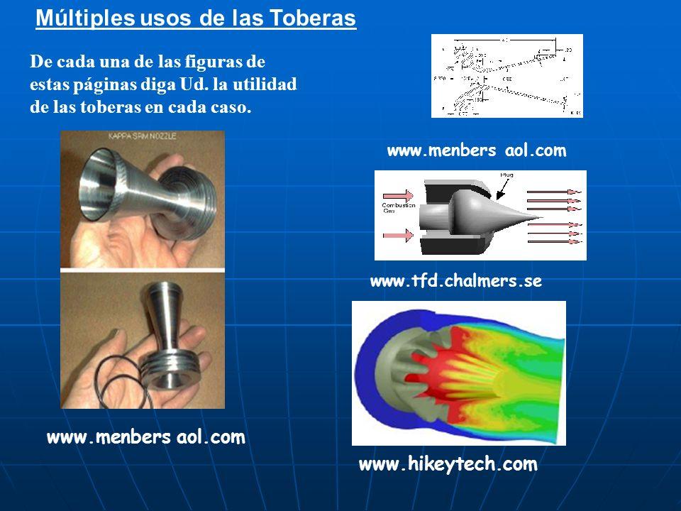 Múltiples usos de las Toberas De cada una de las figuras de estas páginas diga Ud. la utilidad de las toberas en cada caso. www.menbers aol.com www.tf