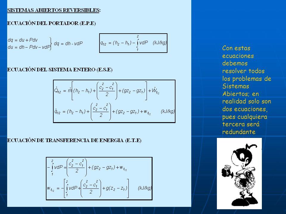 Con estas ecuaciones debemos resolver todos los problemas de Sistemas Abiertos; en realidad solo son dos ecuaciones, pues cualquiera tercera será redu