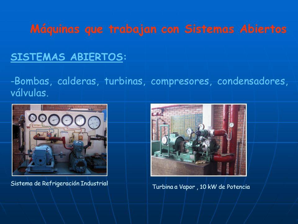 Máquinas que trabajan con Sistemas Abiertos SISTEMAS ABIERTOS: -Bombas, calderas, turbinas, compresores, condensadores, válvulas. Sistema de Refrigera