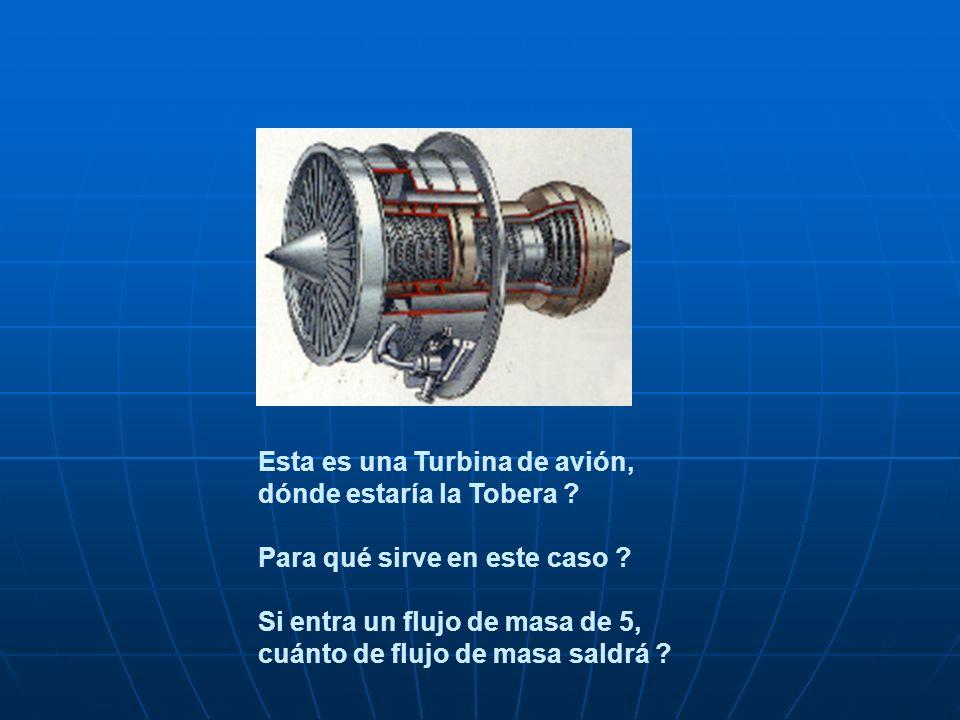 Esta es una Turbina de avión, dónde estaría la Tobera ? Para qué sirve en este caso ? Si entra un flujo de masa de 5, cuánto de flujo de masa saldrá ?