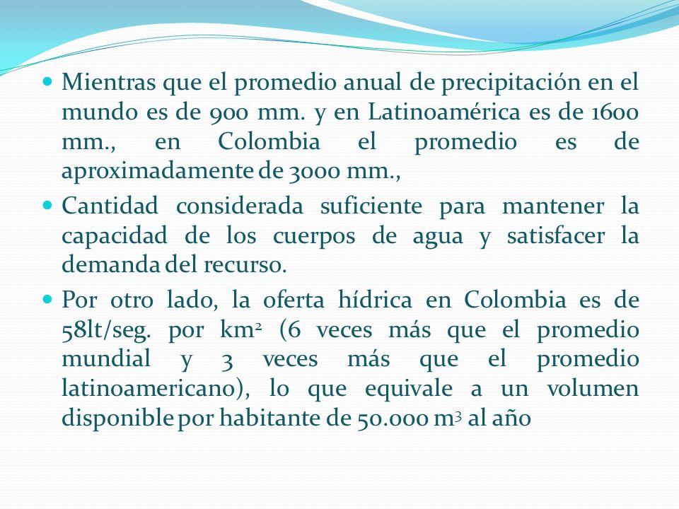 Mientras que el promedio anual de precipitación en el mundo es de 900 mm. y en Latinoamérica es de 1600 mm., en Colombia el promedio es de aproximadam