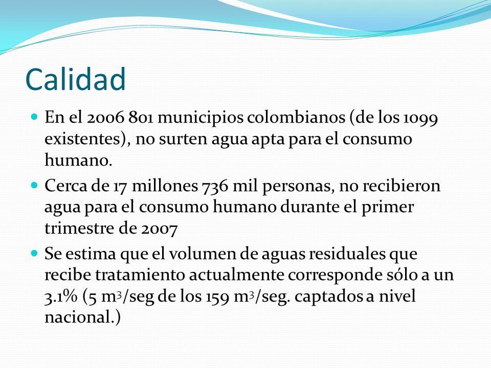 Calidad En el 2006 801 municipios colombianos (de los 1099 existentes), no surten agua apta para el consumo humano. Cerca de 17 millones 736 mil perso