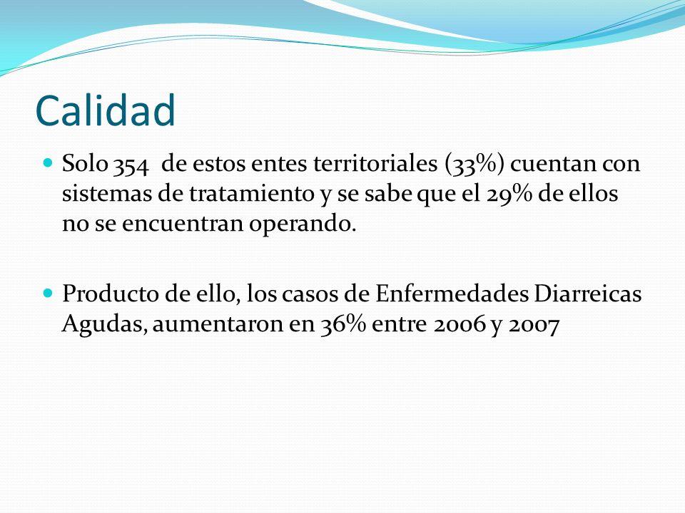 Calidad Solo 354 de estos entes territoriales (33%) cuentan con sistemas de tratamiento y se sabe que el 29% de ellos no se encuentran operando. Produ