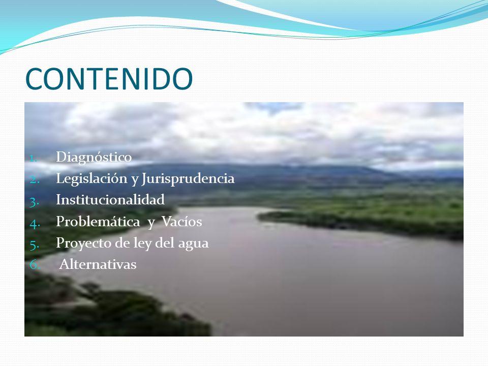 CONTENIDO 1. Diagnóstico 2. Legislación y Jurisprudencia 3. Institucionalidad 4. Problemática y Vacíos 5. Proyecto de ley del agua 6. Alternativas