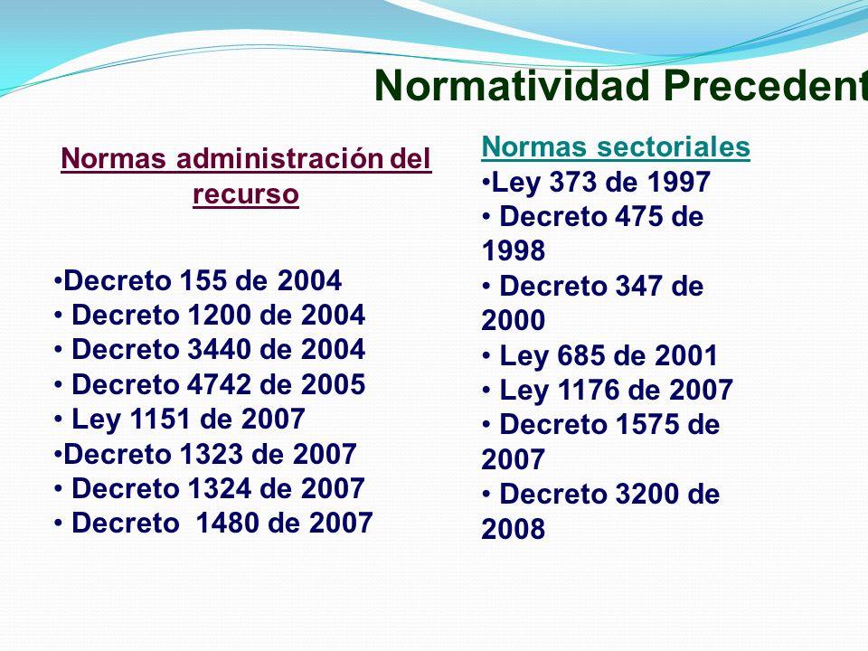 Normas administración del recurso Decreto 155 de 2004 Decreto 1200 de 2004 Decreto 3440 de 2004 Decreto 4742 de 2005 Ley 1151 de 2007 Decreto 1323 de