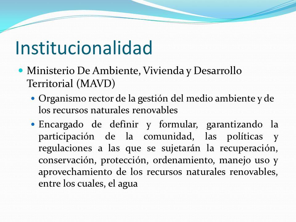 Institucionalidad Ministerio De Ambiente, Vivienda y Desarrollo Territorial (MAVD) Organismo rector de la gestión del medio ambiente y de los recursos