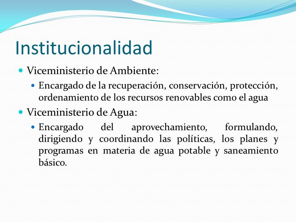 Institucionalidad Viceministerio de Ambiente: Encargado de la recuperación, conservación, protección, ordenamiento de los recursos renovables como el