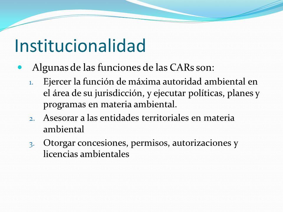 Institucionalidad Algunas de las funciones de las CARs son: 1. Ejercer la función de máxima autoridad ambiental en el área de su jurisdicción, y ejecu