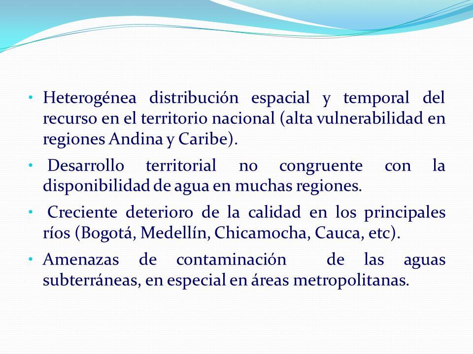 Heterogénea distribución espacial y temporal del recurso en el territorio nacional (alta vulnerabilidad en regiones Andina y Caribe). Desarrollo terri