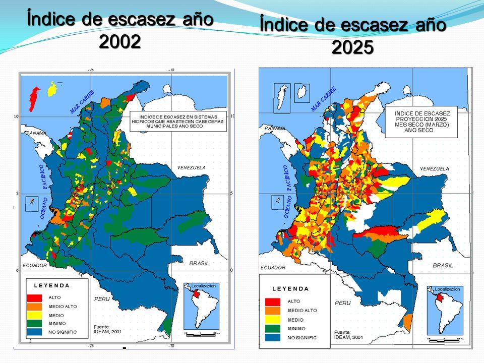Índice de escasez año 2002 Índice de escasez año 2025