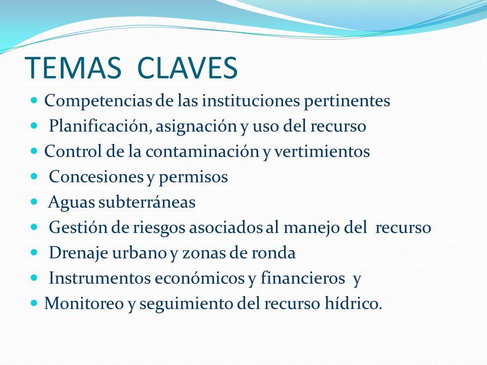 TEMAS CLAVES Competencias de las instituciones pertinentes Planificación, asignación y uso del recurso Control de la contaminación y vertimientos Conc