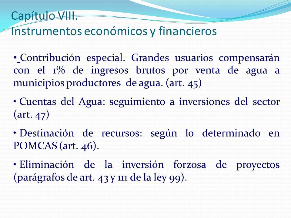 Contribución especial. Grandes usuarios compensarán con el 1% de ingresos brutos por venta de agua a municipios productores de agua. (art. 45) Cuentas