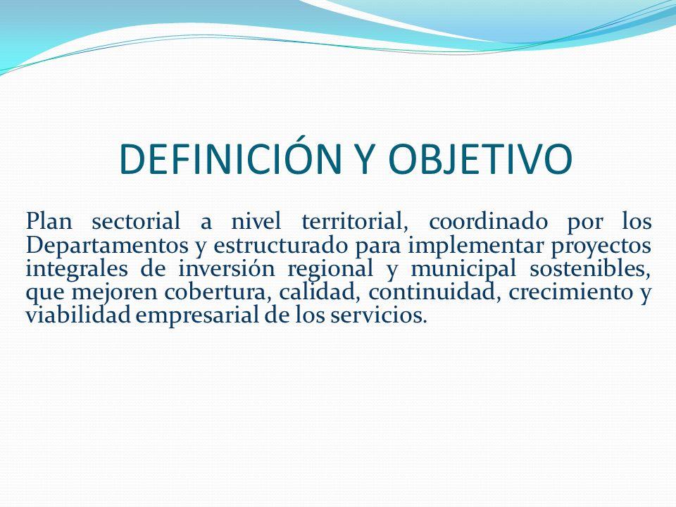 DEFINICIÓN Y OBJETIVO Plan sectorial a nivel territorial, coordinado por los Departamentos y estructurado para implementar proyectos integrales de inv