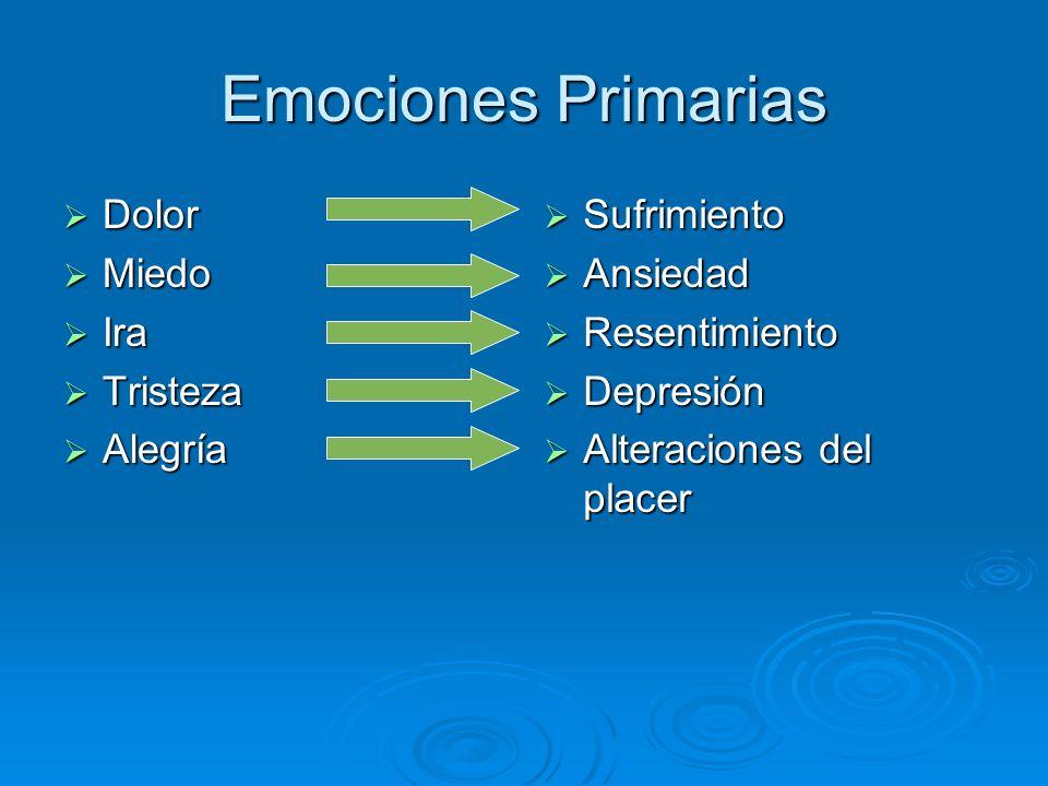 Emociones Primarias Dolor Dolor Miedo Miedo Ira Ira Tristeza Tristeza Alegría Alegría Sufrimiento Sufrimiento Ansiedad Ansiedad Resentimiento Resentim