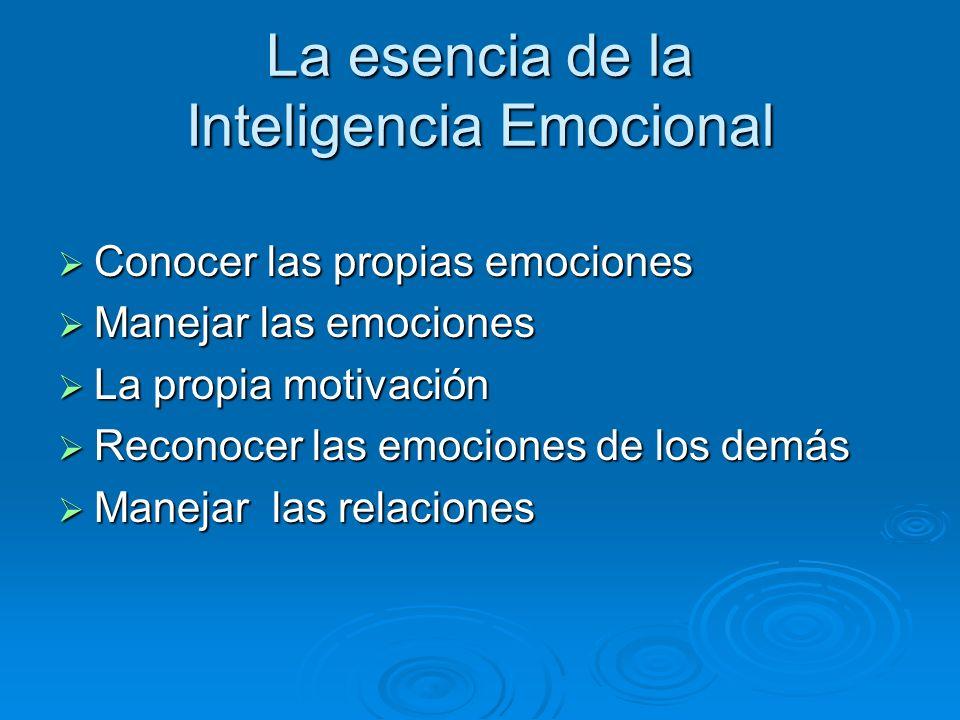 La esencia de la Inteligencia Emocional Conocer las propias emociones Conocer las propias emociones Manejar las emociones Manejar las emociones La pro