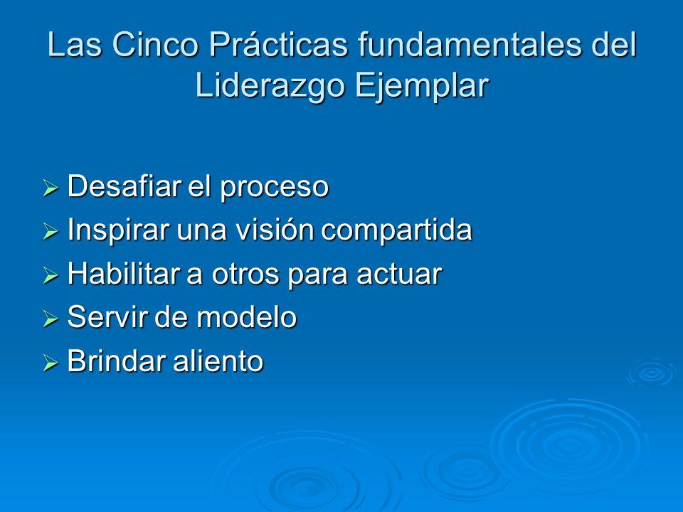 Las Cinco Prácticas fundamentales del Liderazgo Ejemplar Desafiar el proceso Desafiar el proceso Inspirar una visión compartida Inspirar una visión co