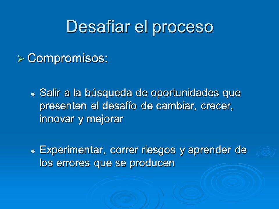 Desafiar el proceso Compromisos: Compromisos: Salir a la búsqueda de oportunidades que presenten el desafío de cambiar, crecer, innovar y mejorar Sali