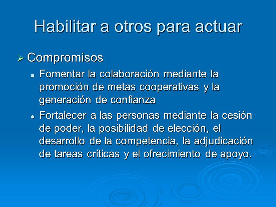 Habilitar a otros para actuar Compromisos Compromisos Fomentar la colaboración mediante la promoción de metas cooperativas y la generación de confianz