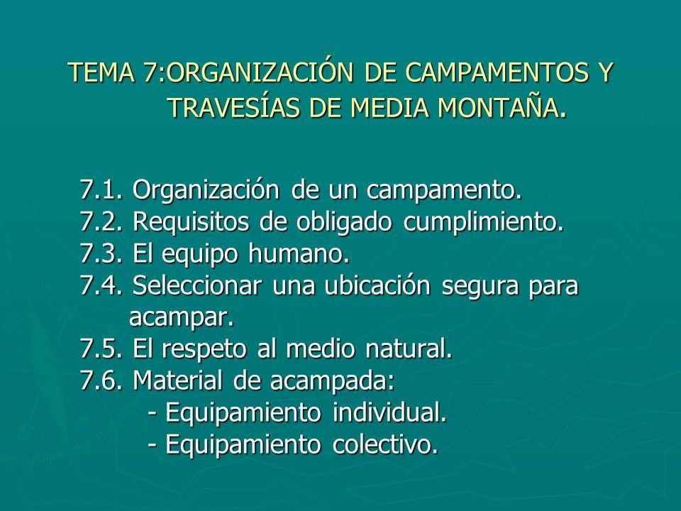 TEMA 7:ORGANIZACIÓN DE CAMPAMENTOS Y TRAVESÍAS DE MEDIA MONTAÑA. 7.1. Organización de un campamento. 7.2. Requisitos de obligado cumplimiento. 7.3. El