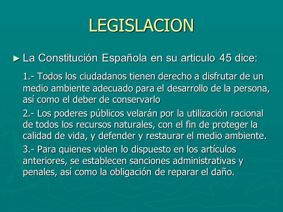 LEGISLACION La Constitución Española en su articulo 45 dice: La Constitución Española en su articulo 45 dice: 1.- Todos los ciudadanos tienen derecho
