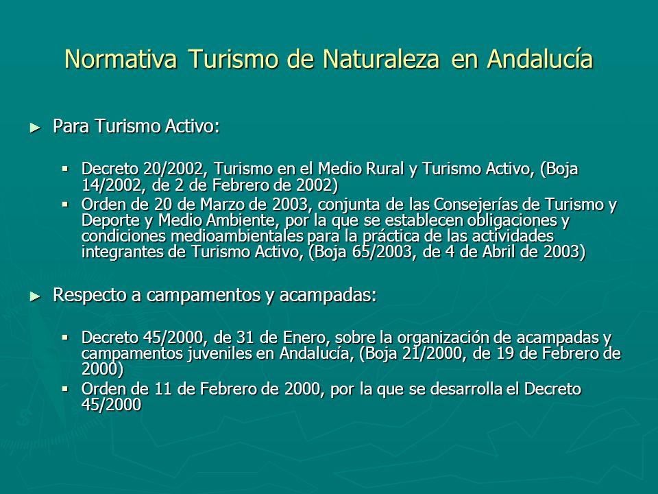 Normativa Turismo de Naturaleza en Andalucía Para Turismo Activo: Para Turismo Activo: Decreto 20/2002, Turismo en el Medio Rural y Turismo Activo, (B