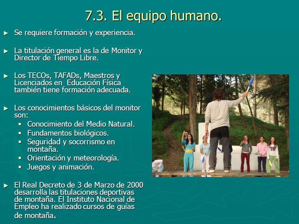 7.3. El equipo humano. Se requiere formación y experiencia. Se requiere formación y experiencia. La titulación general es la de Monitor y Director de