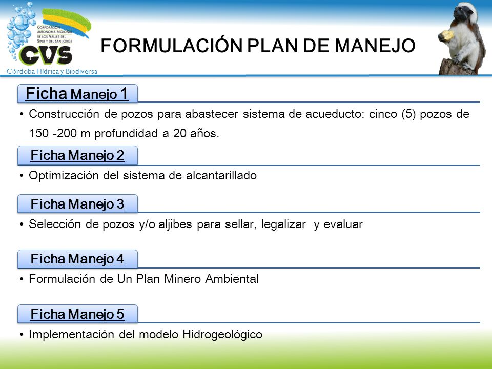 Córdoba Hídrica y Biodiversa FORMULACIÓN PLAN DE MANEJO Ficha Manejo 1 Construcción de pozos para abastecer sistema de acueducto: cinco (5) pozos de 1