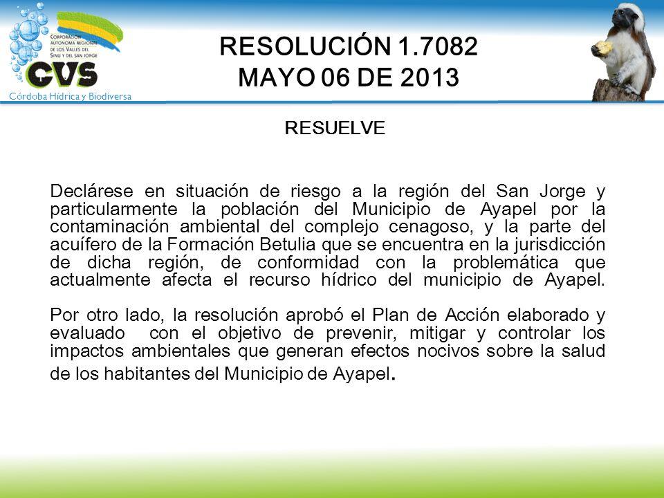 Córdoba Hídrica y Biodiversa Declárese en situación de riesgo a la región del San Jorge y particularmente la población del Municipio de Ayapel por la