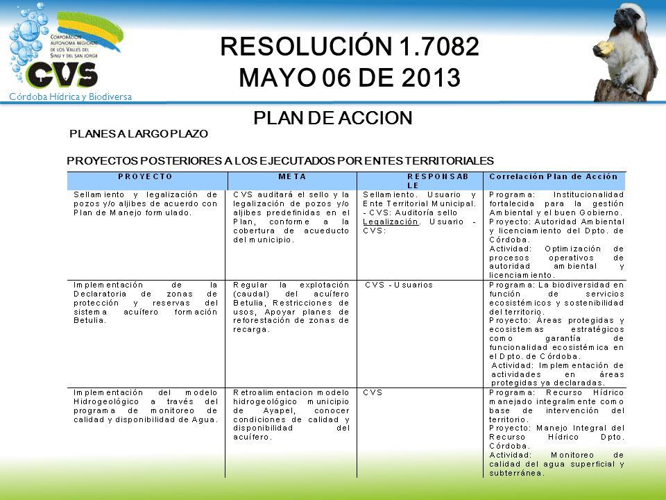 Córdoba Hídrica y Biodiversa PLAN DE ACCION RESOLUCIÓN 1.7082 MAYO 06 DE 2013 PLANES A LARGO PLAZO PROYECTOS POSTERIORES A LOS EJECUTADOS POR ENTES TE