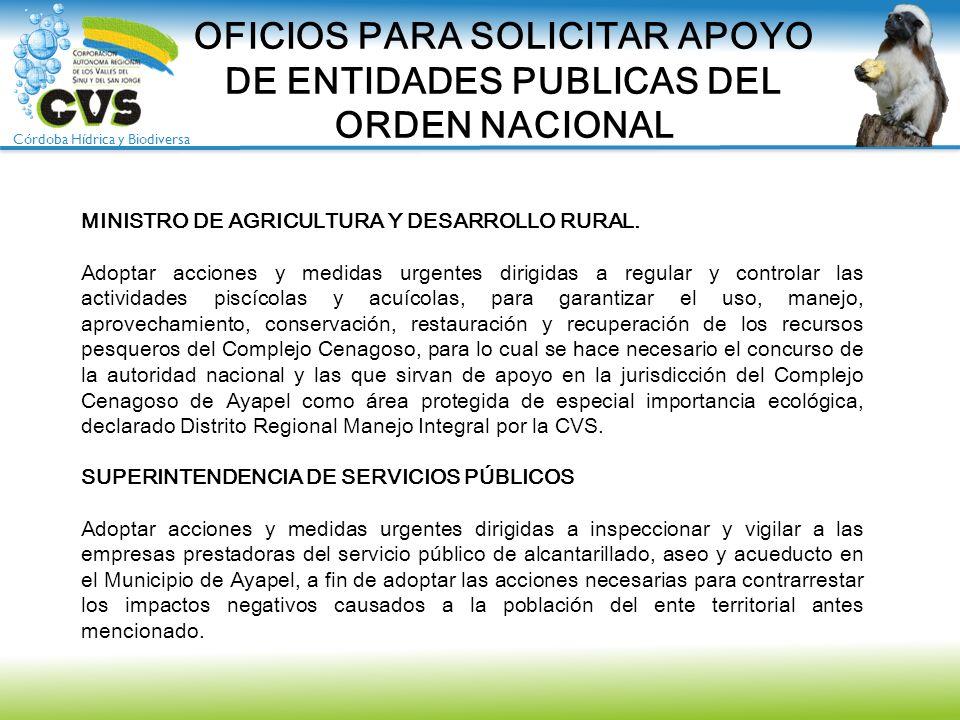 Córdoba Hídrica y Biodiversa OFICIOS PARA SOLICITAR APOYO DE ENTIDADES PUBLICAS DEL ORDEN NACIONAL MINISTRO DE AGRICULTURA Y DESARROLLO RURAL. Adoptar