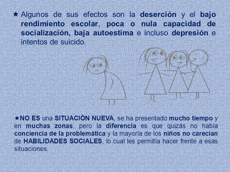 Algunos de sus efectos son la deserción y el bajo rendimiento escolar, poca o nula capacidad de socialización, baja autoestima e incluso depresión e i