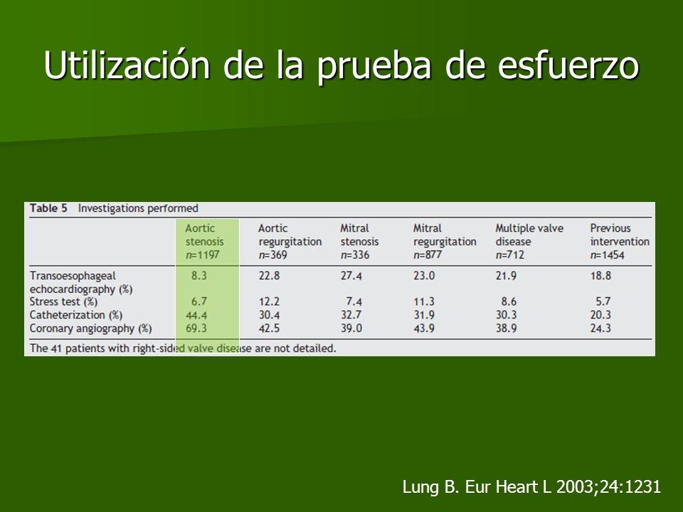 Utilización de la prueba de esfuerzo Lung B. Eur Heart L 2003;24:1231