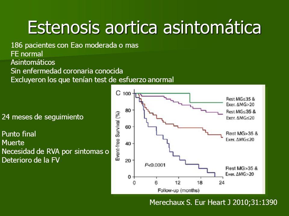 Estenosis aortica asintomática Merechaux S. Eur Heart J 2010;31:1390 186 pacientes con Eao moderada o mas FE normal Asintomáticos Sin enfermedad coron