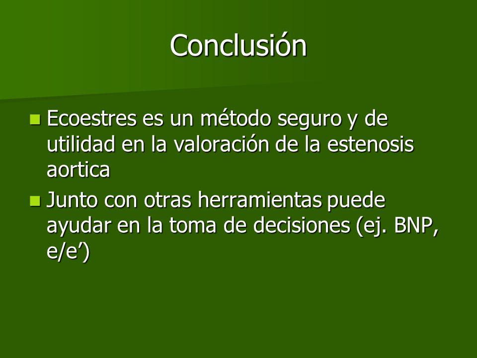 Conclusión Ecoestres es un método seguro y de utilidad en la valoración de la estenosis aortica Ecoestres es un método seguro y de utilidad en la valo