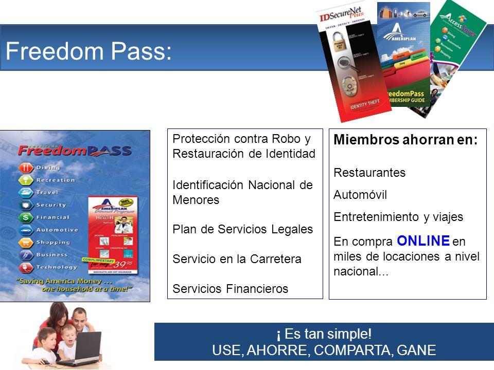 The Company Freedom Pass: Protección contra Robo y Restauración de Identidad Identificación Nacional de Menores Plan de Servicios Legales Servicio en