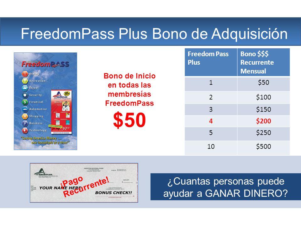 The Company FreedomPass Plus Bono de Adquisición ¡Pago Recurrente! Bono de Inicio en todas las membresías FreedomPass $50 Freedom Pass Plus Bono $$$ R