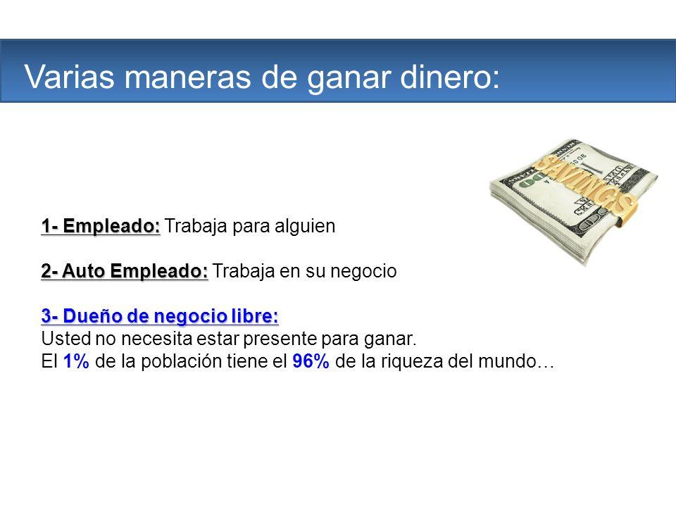 The Company Varias maneras de ganar dinero: 1- Empleado: 1- Empleado: Trabaja para alguien 2- Auto Empleado: 2- Auto Empleado: Trabaja en su negocio 3