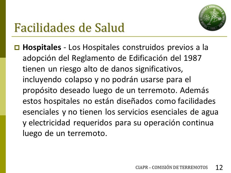 Facilidades de Salud Hospitales - Los Hospitales construidos previos a la adopción del Reglamento de Edificación del 1987 tienen un riesgo alto de dan