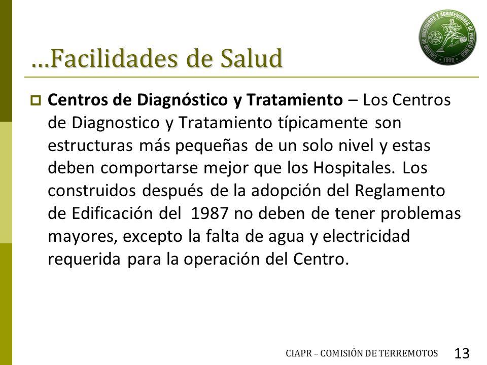 …Facilidades de Salud Centros de Diagnóstico y Tratamiento – Los Centros de Diagnostico y Tratamiento típicamente son estructuras más pequeñas de un s