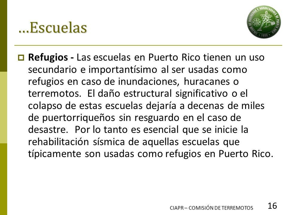 CIAPR – COMISIÓN DE TERREMOTOS 16 …Escuelas Refugios - Las escuelas en Puerto Rico tienen un uso secundario e importantísimo al ser usadas como refugi