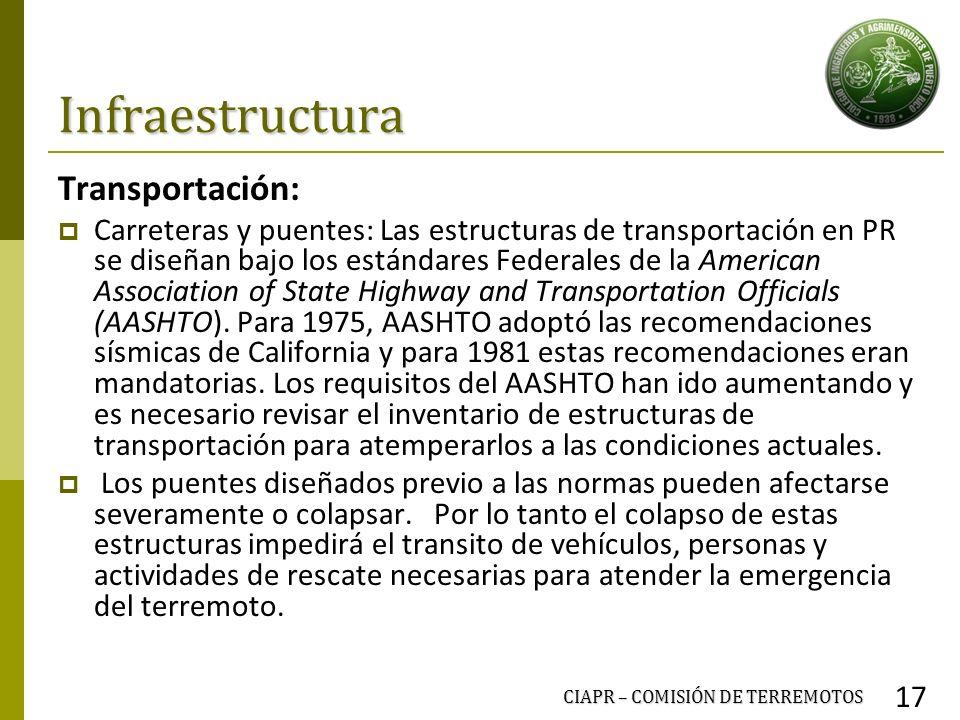 Infraestructura Transportación: Carreteras y puentes: Las estructuras de transportación en PR se diseñan bajo los estándares Federales de la American