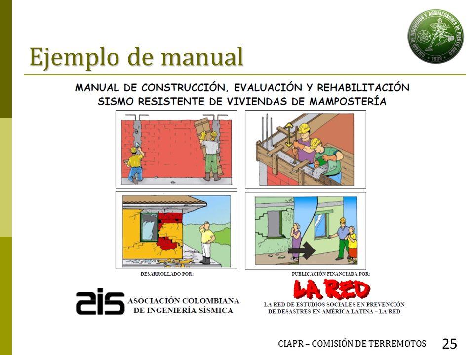Ejemplo de manual CIAPR – COMISIÓN DE TERREMOTOS 25