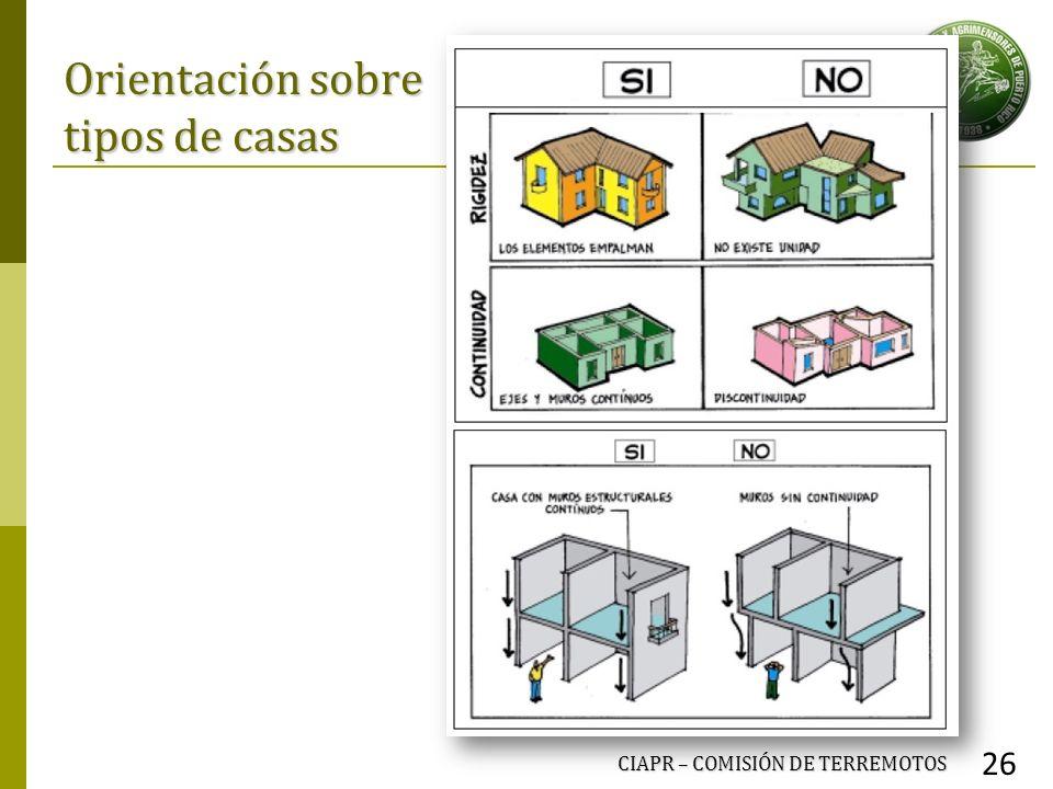 Orientación sobre tipos de casas CIAPR – COMISIÓN DE TERREMOTOS 26