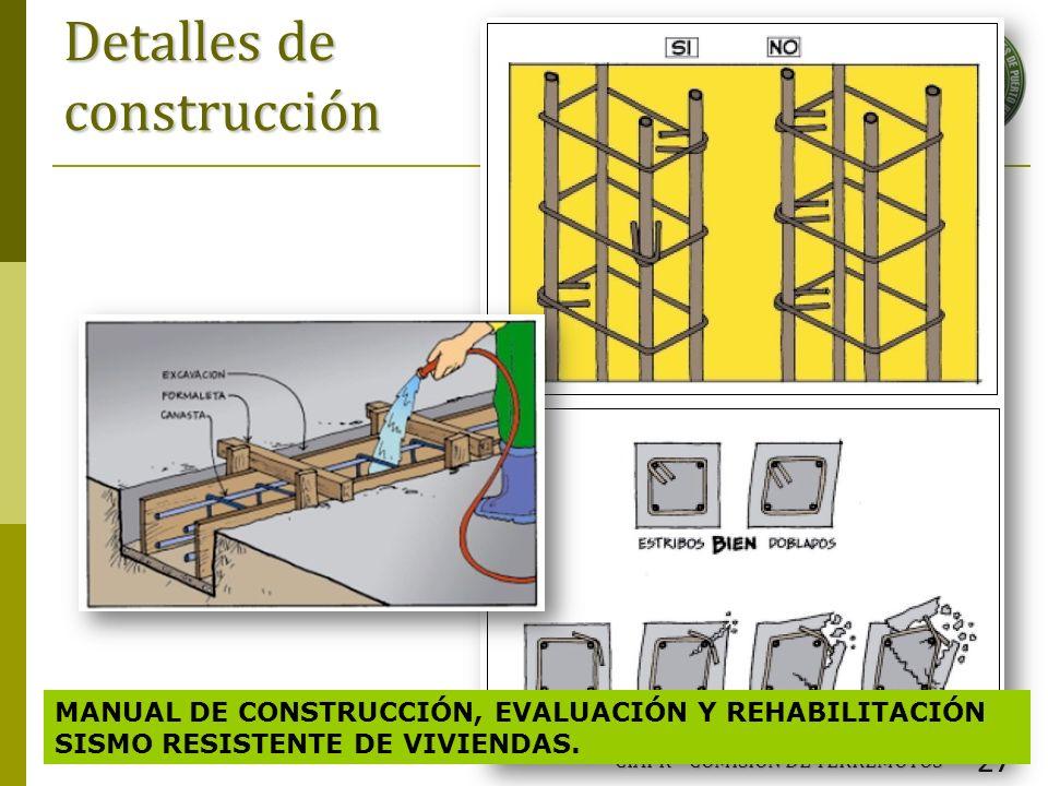 Detalles de construcción CIAPR – COMISIÓN DE TERREMOTOS 27 MANUAL DE CONSTRUCCIÓN, EVALUACIÓN Y REHABILITACIÓN SISMO RESISTENTE DE VIVIENDAS.