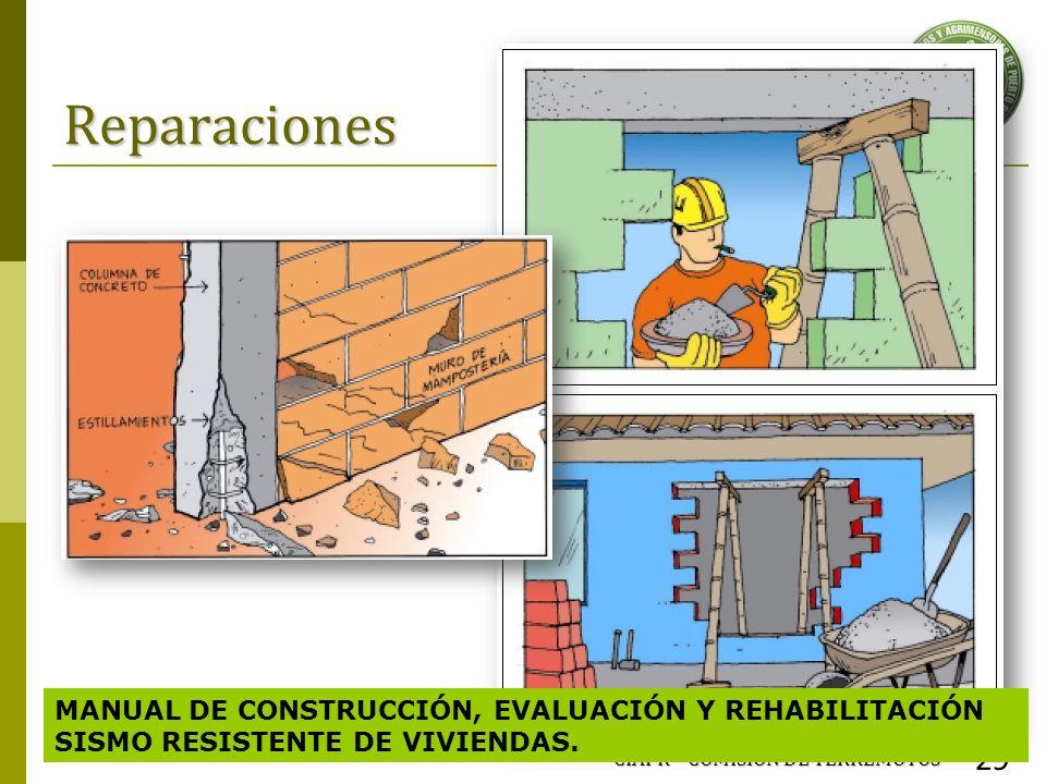 Reparaciones CIAPR – COMISIÓN DE TERREMOTOS 29 MANUAL DE CONSTRUCCIÓN, EVALUACIÓN Y REHABILITACIÓN SISMO RESISTENTE DE VIVIENDAS.