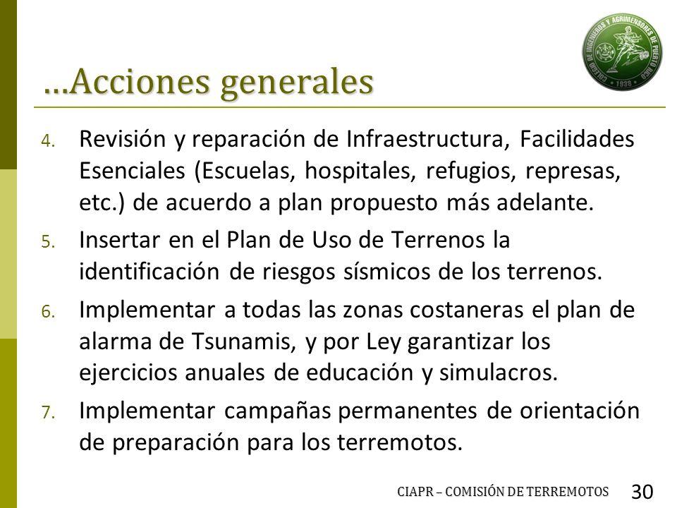 …Acciones generales 4. Revisión y reparación de Infraestructura, Facilidades Esenciales (Escuelas, hospitales, refugios, represas, etc.) de acuerdo a